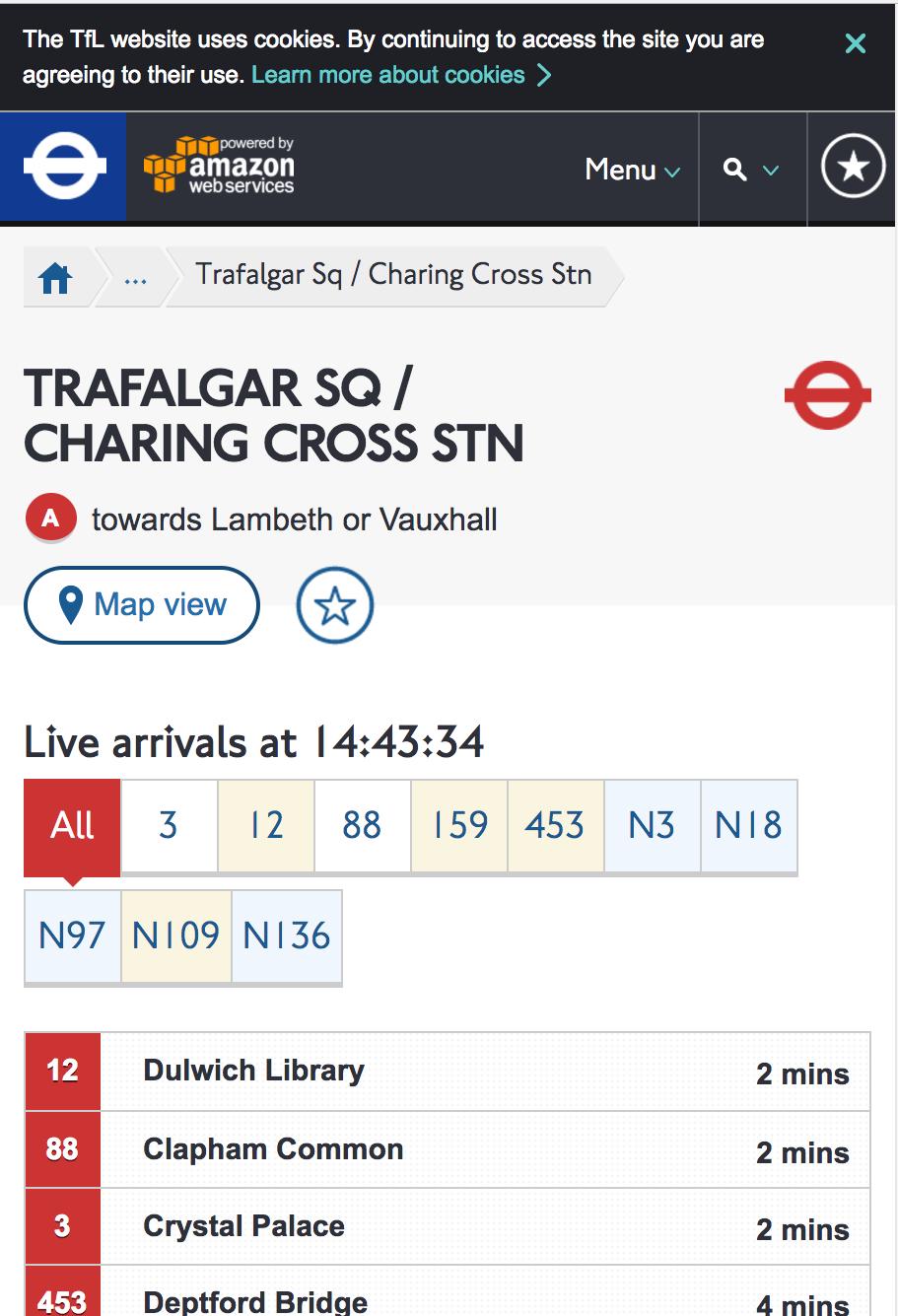 TFL Bus Arrivals page
